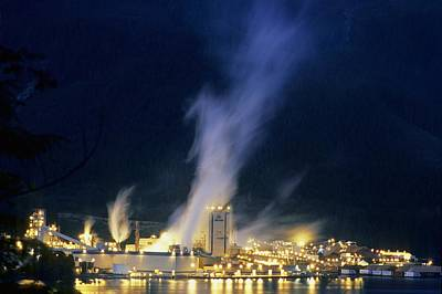 Paper Pulp Photograph - Paper Mill At Night, Canada by Alan Sirulnikoff