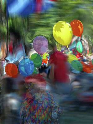 Photograph - Parade-portrait Of An Unknown Man In A Balloon With Butch The Clown by Anne Cameron Cutri