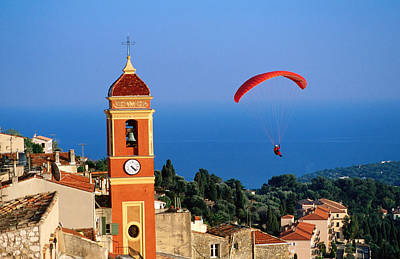 Paraglider Soaring Past Tower Of Colourful Village Church, Alpes-maritimes, Roquebrune, Provence-alpes-cote D'azur, France, Europe Art Print