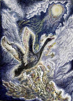 Wetlands Drawing - Paramahansa Or Black Swan In Moonlight Flight by Helen Duley