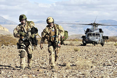 Pararescuemen Depart From A Hh-60g Pave Art Print