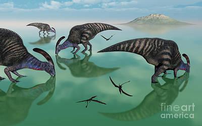 Parasaurolophus Digital Art - Parasaurolophus Dinosaurs Graze An by Mark Stevenson