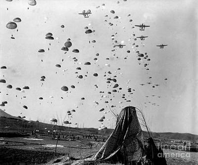 Paratroopers Jump From From C-119s Art Print by Stocktrek Images