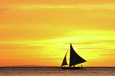 Clouds Over Sea Photograph - Paraw Sailing At Sunset, Philippines by Joyoyo Chen