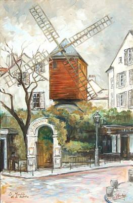 Montmartre Painting - Paris - Le Moulin De La Galette by Irek Szelag