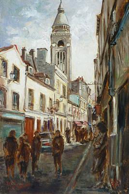 Montmartre Painting - Paris - Rue St. Rustique by Irek Szelag