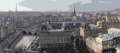 Panorama Digital Art - Paris 01 by Yuriy  Shevchuk
