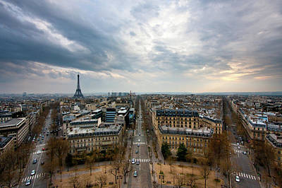 City Street Photograph - Paris And Eiffel Tower At Sunset by Philipp Kern