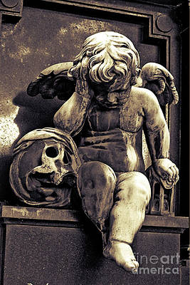 Paris Gothic Angel Cemetery Cherub - Cherub And Skull Pere Lachaise Cemetery Art Print by Kathy Fornal