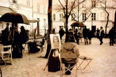Paris Sepia Vintage Montmartre Artist District - Paris Montmartre Artists  Art Print by Kathy Fornal