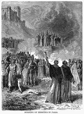 Paris: Burning Of Heretics Art Print by Granger