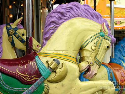Paris Carousel Horses Art Print by Anne Gordon