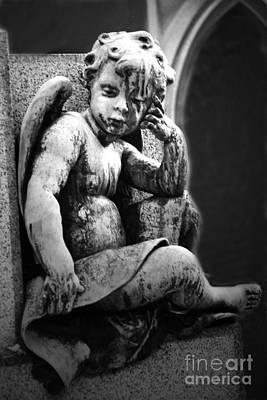 Paris Cemetery - Pere La Chaise - Black And White Cherub Art Print by Kathy Fornal