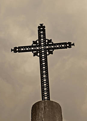 Photograph - Paris Cemetery Cross by Tony Grider
