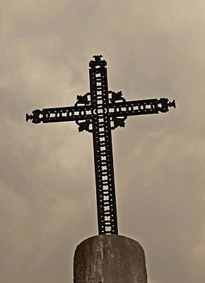 Photograph - Paris Cemetery Cross by Tony Grider