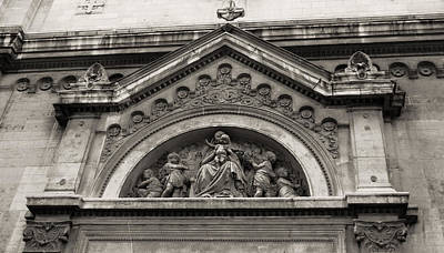 Photograph - Paris Church Facade In Sepia by Tony Grider
