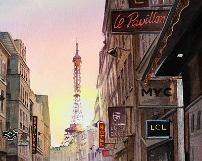 Streets Of France Painting - Paris Eiffel Tower by Irina Sztukowski
