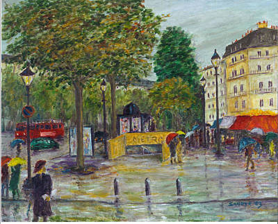 Champs Elysees Painting - Paris In The Rain by Sandy Starr