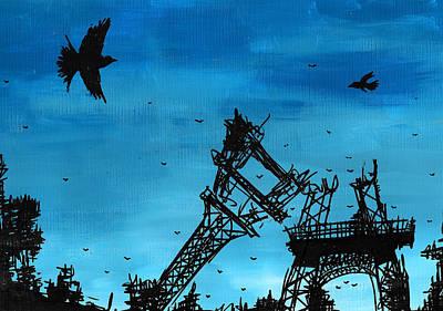Tear Drawing - Paris Is Falling Down by Jera Sky