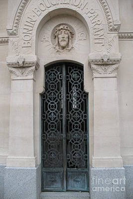 Photograph - Paris Mausoleum Door With Jesus by Kathy Fornal
