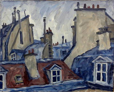 Rights Painting - Paris Rooftops by Thor Wickstrom
