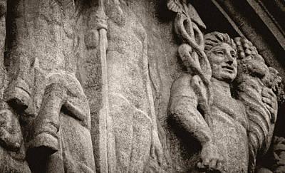 Photograph - Paris Stone Facade In Sepia by Tony Grider