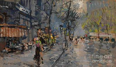 Streets Of France Painting - Paris Street View by Pg Reproductions