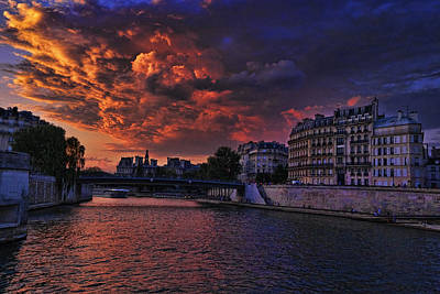 Photograph - Paris Sundown D1958 by Wes and Dotty Weber