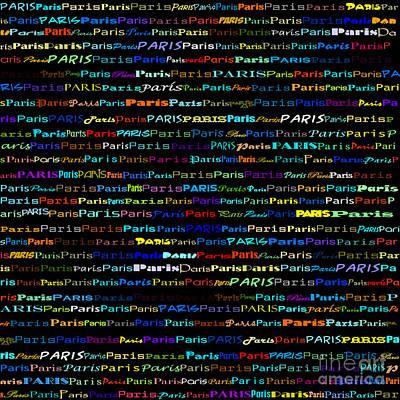 Digital Art - Paris Text Design I by Susan Stevenson