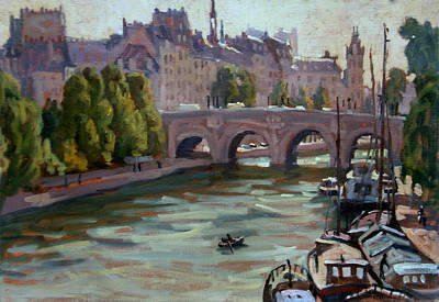 Justice Painting - Paris The Seine And Pont Neuf by Thor Wickstrom