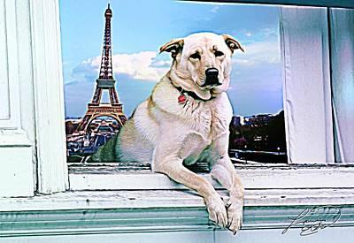 Puppies Mixed Media - Paris Vacation by ABA Studio Designs
