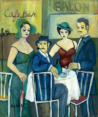 Parisian Cafe Scene In Blue Green And Brown Art Print