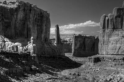 Photograph - Park Avenue 2 Arches National Park Black And White by Ken Smith