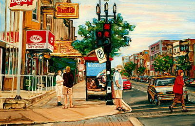 Park Avenue And Bernard Montreal City Scene Print by Carole Spandau