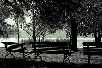 Park Benches In Autumn Print by Joana Kruse