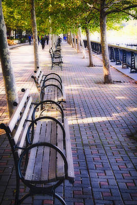 Park Benches In Hoboken Art Print by George Oze