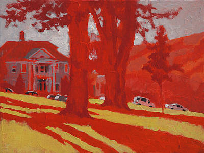 Park In Red Art Print