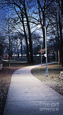 Lamppost Photograph - Park Path At Dusk by Elena Elisseeva