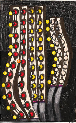 Traffic Lights After Rain Late Night Art Print