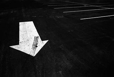 Photograph - Parking Lot Pavement Arrow Number 1 by Randall Nyhof
