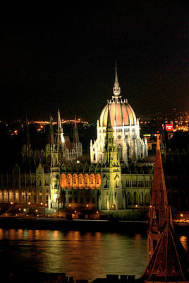 Parliament Building Lit Up At Night, Danube River, Art Print by Roberto Herrero Garcia