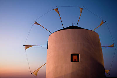Photograph - Paros Windmill Sunset Lit by Lorraine Devon Wilke
