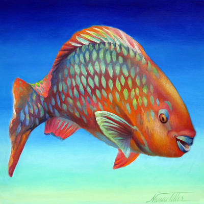 Rainbow Of Colors Painting - Parrot Fish by Nancy Tilles