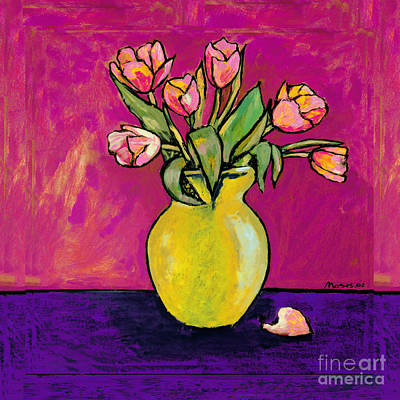 Parrot Tulips In A Yellow Vase Art Print