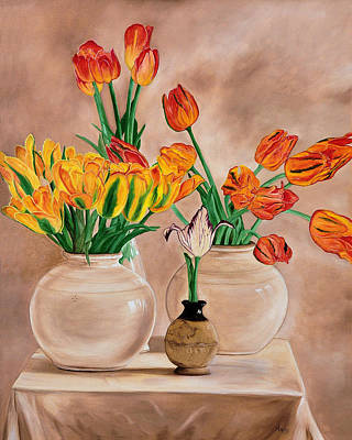 Painting - Parrot Tulips by Jan Amiss