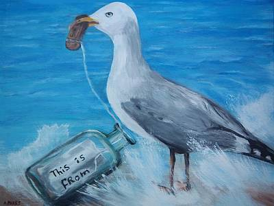 Painting - Part Of Bottle Message by Aleta Parks