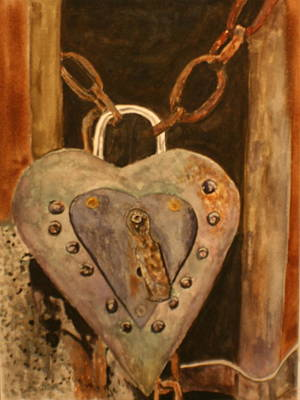 Rivets Painting - Parthenay Padlock by Betty-Anne McDonald