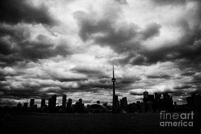 Partial Silhouette Of Toronto Skyline On A Cloudy Day Ontario Canada Art Print