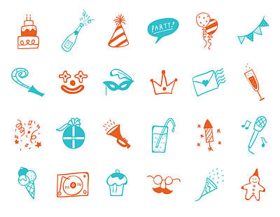 Party Icon Set Print by Eastnine Inc.