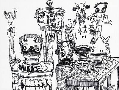 Abstract Expressionism Drawing - Party Monsters by Robert Wolverton Jr